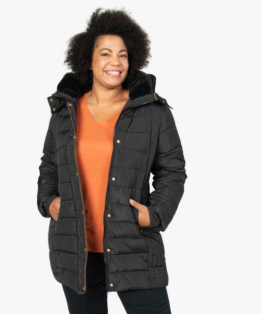 Manteau femme matelassé avec col doublé offre à 69,99€