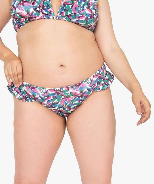 Bas de maillot de bain imprimé avec volants sur les hanches offre à 4,99€