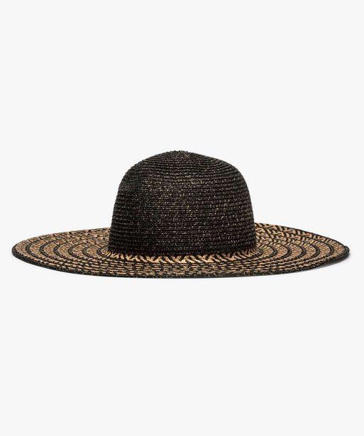 Chapeau de paille femme à larges bords et paillettes offre à 9,09€