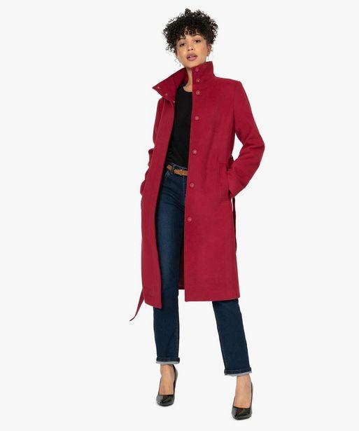 Manteau femme avec col montant et ceinture offre à 59,99€