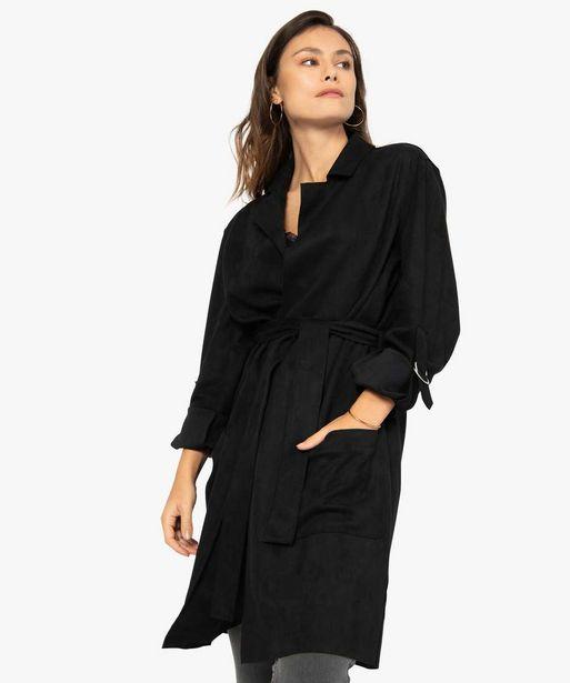 Manteau femme en suédine avec ceinture offre à 39,99€