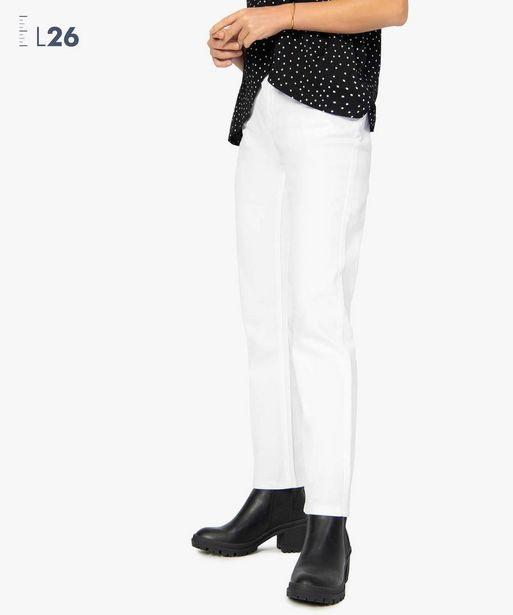 Pantalon femme en toile unie coupe droite 5 poches- Longueur L26 offre à 7,49€