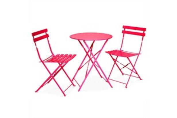 Table de jardin Salon de jardin bistrot pliable - emilia rond rouge framboise- table ronde ø60cm avec deux chaises pliantes, acier thermolaqué Alice's Garden offre à 79,9€
