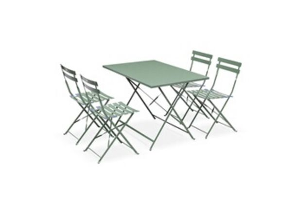 Table de jardin Salon de jardin bistrot pliable - emilia rectangulaire vert de gris - table 110x70cm avec quatre chaises pliantes, acier thermolaqué Alice's Garden offre à 179,9€