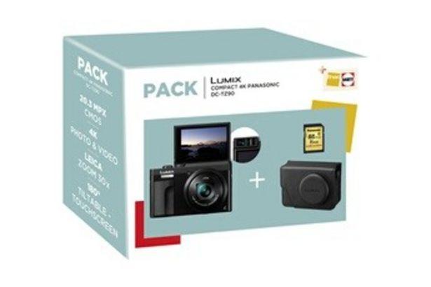 Appareil photo compact PACK Lumix TZ90K Noir + Etui + SD 16 Go Panasonic offre à 299,99€