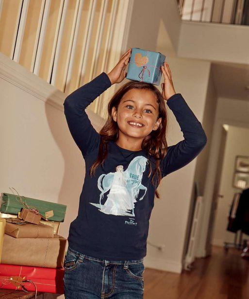 Tee-shirt fille à manches longues avec large motif – La Reine des Neiges offre à 7,99€