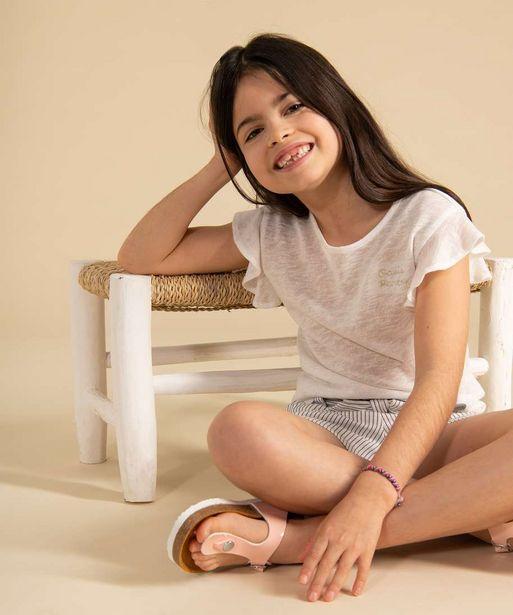 Tee-shirt fille en fine maille pailletée avec manches à volants offre à 3,99€