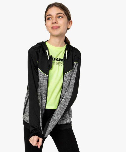 Veste de sport fille avec fermeture zippée et capuche offre à 7,49€