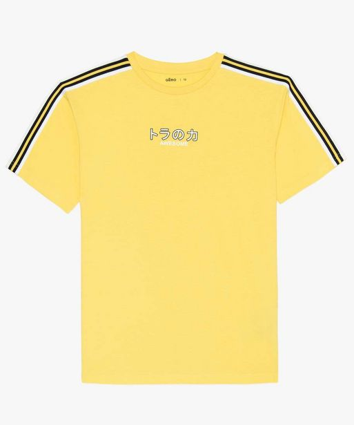 Tee-shirt garçon avec bande rayée et inscription offre à 3,99€