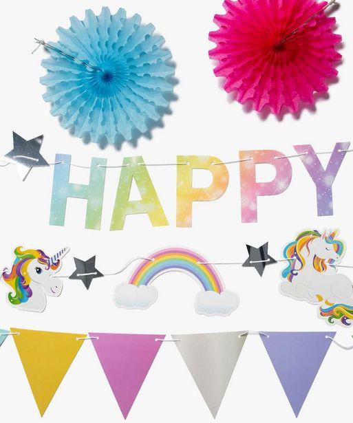 Kit de décoration anniversaire enfant thème licorne (10 pièces) offre à 3,99€