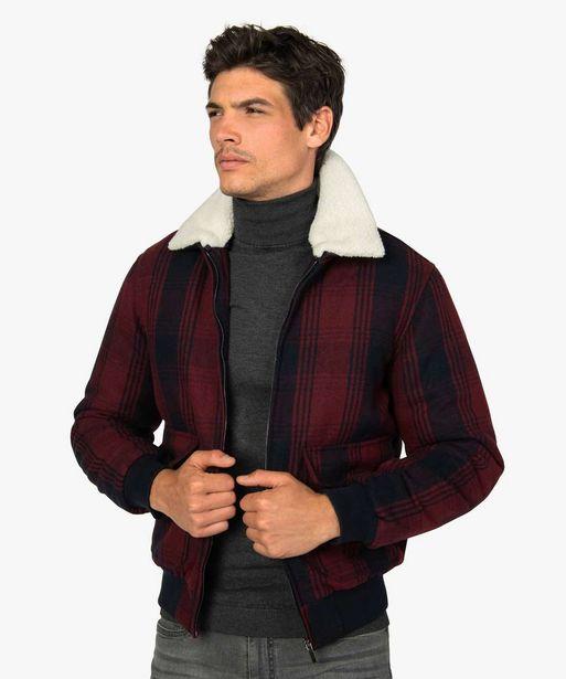 Blouson homme à carreaux avec col imitation laine de mouton offre à 24,99€