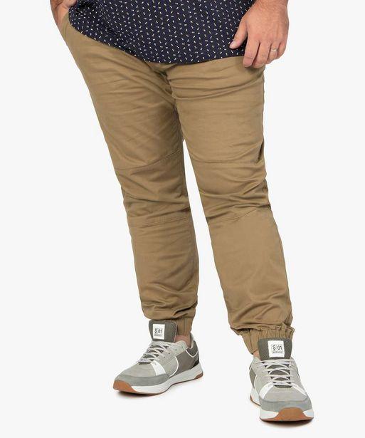 Pantalon homme en toile avec taille et bas élastiqués offre à 24,99€