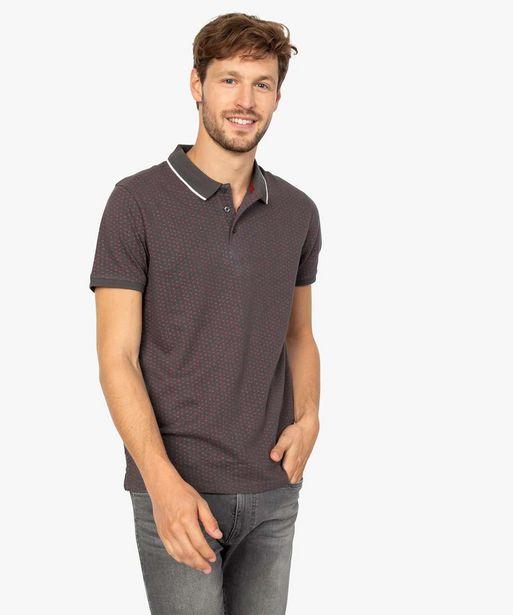 Polo homme à manches courtes et micro-motif offre à 10,99€