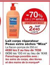 Lait pour le corps reparateur Peaux extra seches Mixa offre à 3,69€