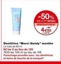 Dentifrice Merci Handy menthe offre à 6€