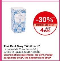 Thé Early Grey Whittard offre à 489€