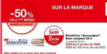 Dentifrice Sensodyne Soin complet 24h offre à 3,99€