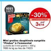 Mini gratins dauphinois surgelés Findus a l`emmental offre à 3,14€
