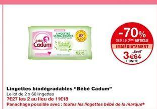 Lingettes biodegradables Bebe Cadum offre à 6,59€