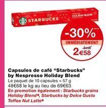 Capsules de café Statbucks by Nespresso Holiday Blend offre à 2,58€