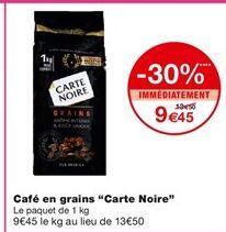 Café en grains Carte noire offre à 9,45€