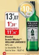 Blended scotch whisky William Lawson's offre à 11,76€