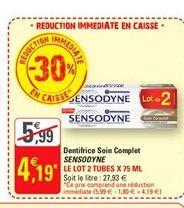 Dentifrice soin complet Sensodyne offre à 4,19€