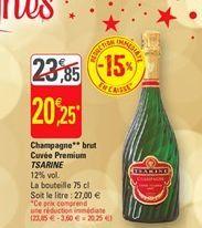 Champagne brut cuvee premium Tsarine offre à 20,25€