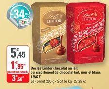 Boules Lindor chocolat au lait ou assortiment de chocolat lait, noir et blanc  Lindt offre à 3,6€