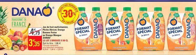 Jus de fruits multivitamine, peche abricot, orange banana fraise ou orange mangue Danao offre à 3,35€