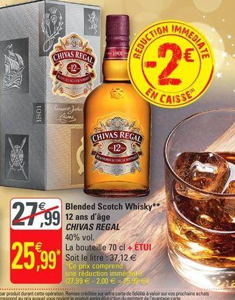 Blended scotch whisky 12 ans d`age Chivas Regal offre à 25,99€