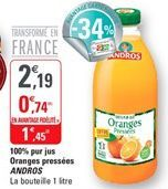100% pur jus oranges pressees Andros offre à 1,45€