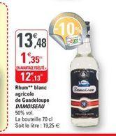 Rhum blanc agricole de Guadeloupe Damoiseau offre à 12,13€