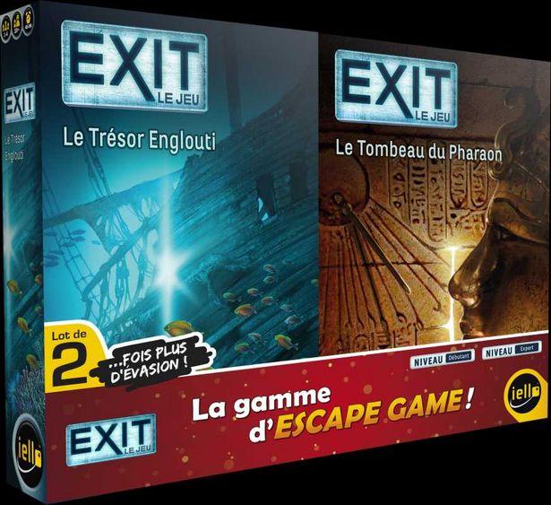 Lot de 2 jeux d'escape game Exit: Le Trésor Englouti + Le Tombeau du Pharaon offre à 19,98€