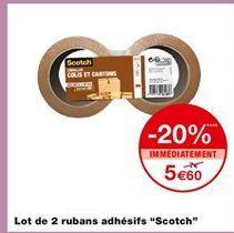 """Lot de 2 rubans adhésifs """"Scotch"""" offre à 5,6€"""
