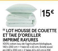 Housse de couette et taie d'oreiller imprimé rayures  offre à 15€