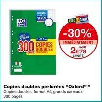 """Copies doubles perforées """"Oxford"""" offre à 2,79€"""