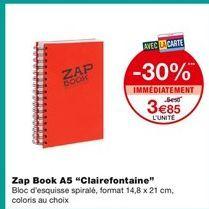 "Zap book A5 ""Clairefontaine"" offre à 3,85€"