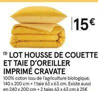 Lot housse de couette et taie d'oreiller imprimé cravate offre à 15€