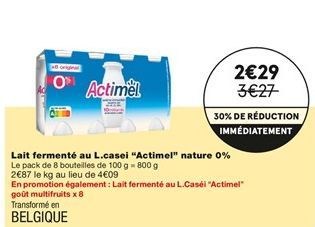 """Lait fermenté au L. casei """"Actimel"""" nature 0% offre à 2,29€"""