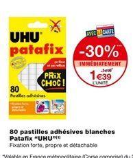 """80 Pastilles adhésives blanches Patafix """"UHU"""" offre à 1,39€"""