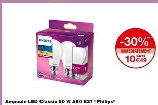 """Ampoule led Classic 60 W A60 E27 """"Philips"""" offre à 10,49€"""