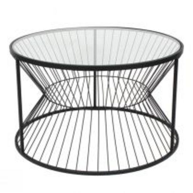 Table basse LINEO en métal noir mat et verre transparent offre à 339€