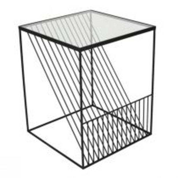 Bout de canapé carré LINEO en métal noir mat et verre transparent offre à 139€