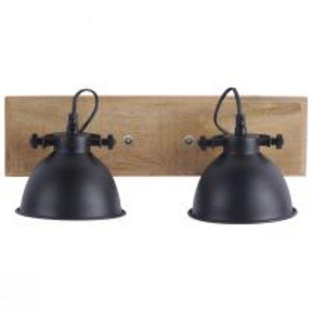 Spot double SAMIA en bois naturel et métal noir offre à 84,9€