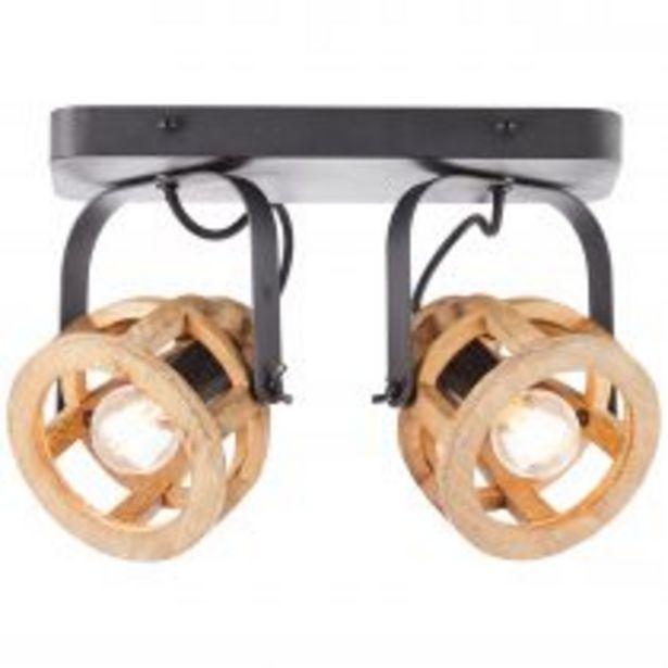Spot double MATRIX en métal noir et bois naturel offre à 79,9€