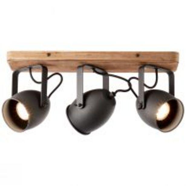 Réglette 3 spots CROWTON en métal noir et bois naturel offre à 119€