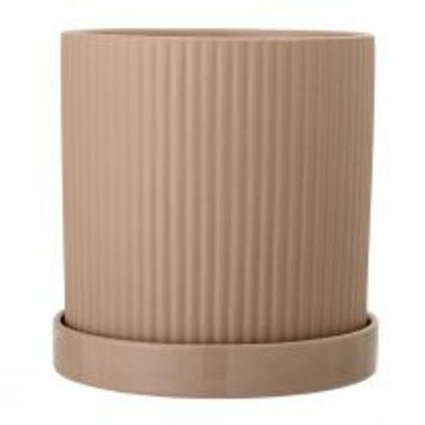 Pot avec coupelle TERRA en pierre rose terracotta offre à 29,9€