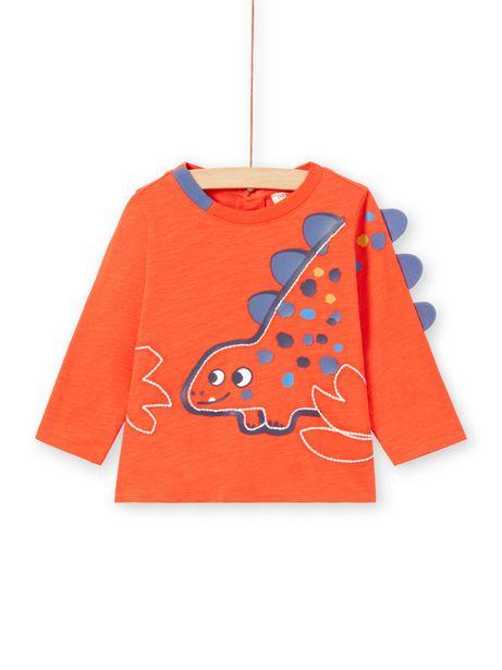 T-shirt manches longues orangé animation dinosaure bébé garçon offre à 5,99€