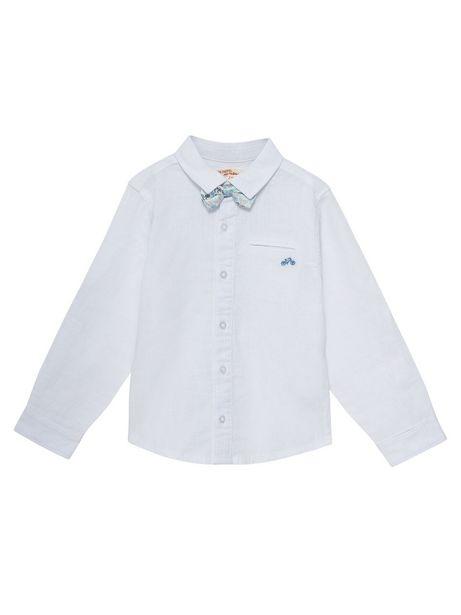 Chemise en lin blanche garçon avec noeud papillon amovible offre à 11,99€